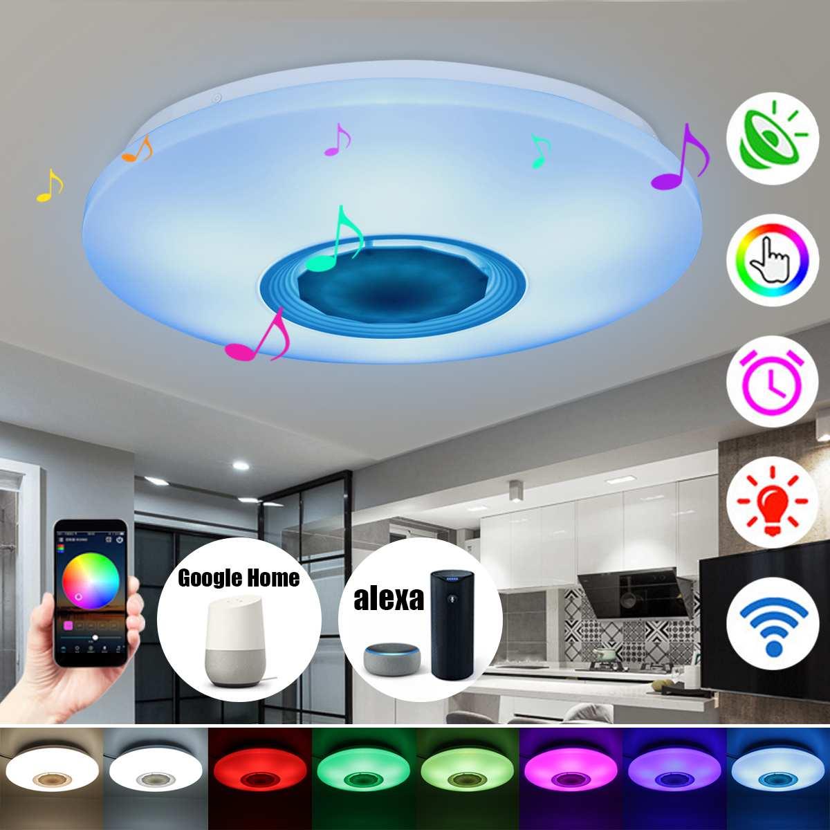 48 W 108 LEDs Dimmable bluetooth haut-parleur lampe de musique plafonnier lumière Multi couleur changeante Dimmable lampe pour chambre AC110-260V