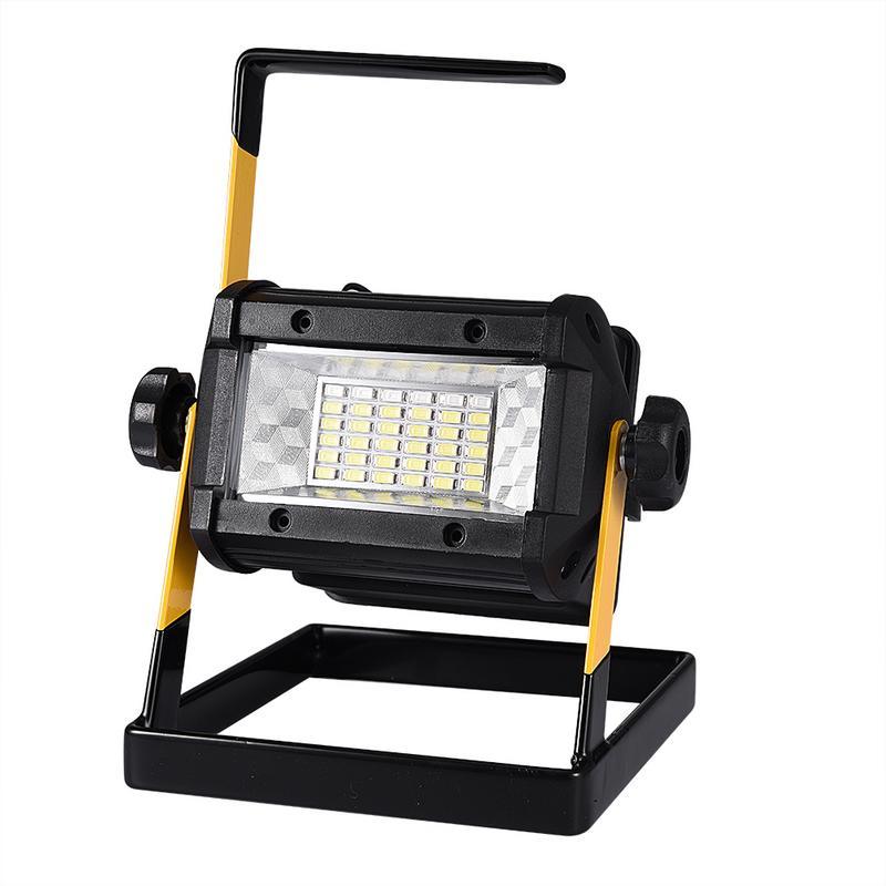 Reflector recargable 50W 36 LED Luz Portátil 2400LM reflectores de luz de trabajo luz de Camping al aire libre con cargador Reflector LED de carga USB Luz de trabajo reflector recargable 2*18650 o 4 * AA batería al aire libre reflector para Camping emergencia