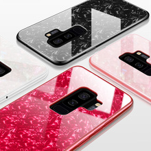 JONSNOW Glossy Hard Case for Samsung S10 Plus S9 S8+ Soft Edge Protective Note 8 9 Tempered Glass Back Cover Cases