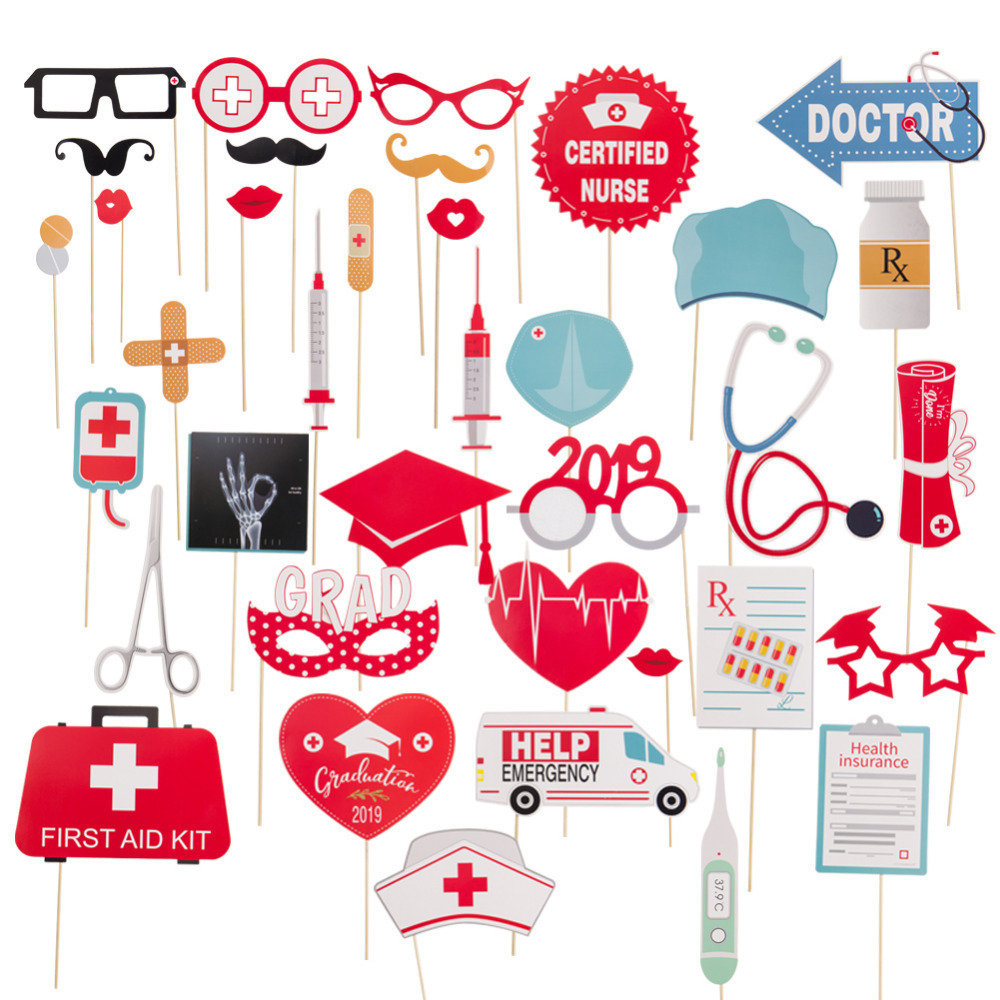 Graduation 2019 Party Decorations Favors 38pcs Doctor Nurse Backdrop Photo Booth Props Balloons