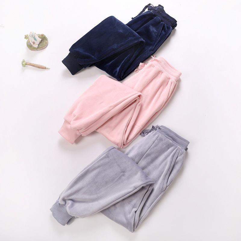 Home Pants For Women Winter Flannel Pyjama Trousers Women Pajama Pants Lounge Wear Ladies Sleeping Pants Pink Navy Sleep Bottoms