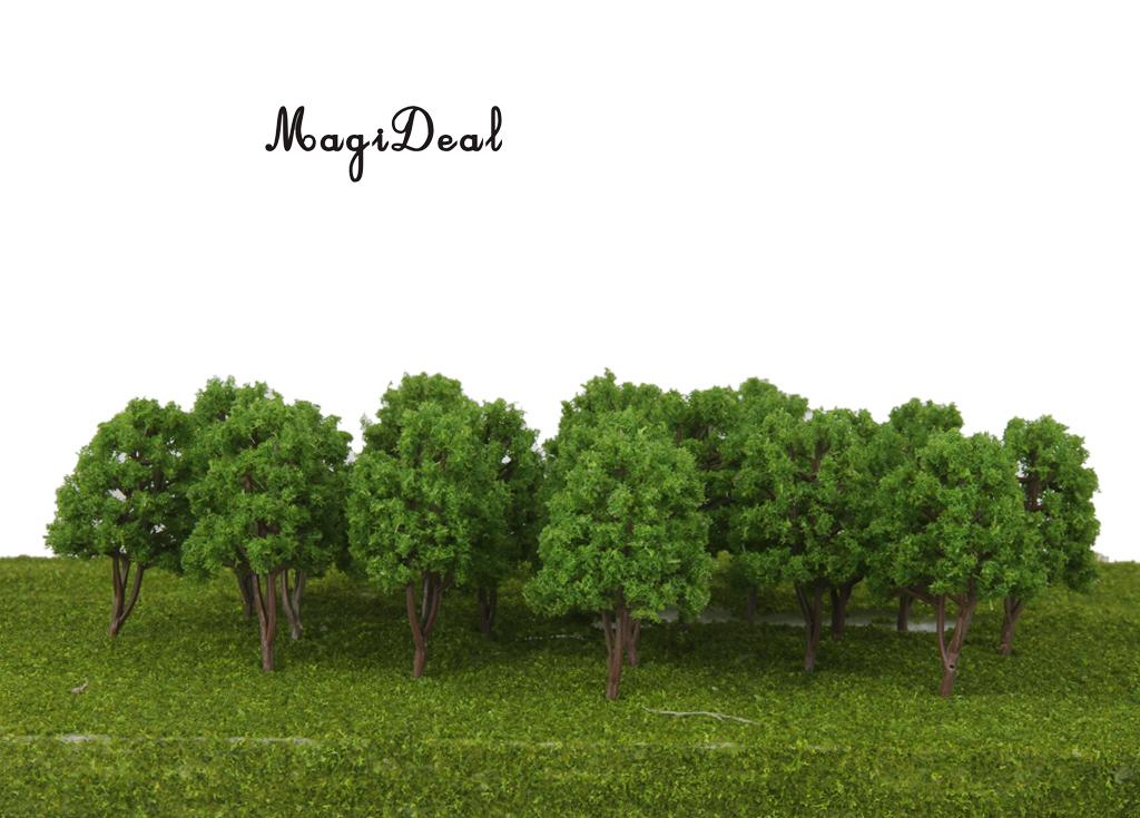 MagiDeal 20Pcs/Pack 1/150 Scale Plastic Model Trees N Scale Train Track Park Layout Wargame Village Scenery Diorama Decor 7.5cm