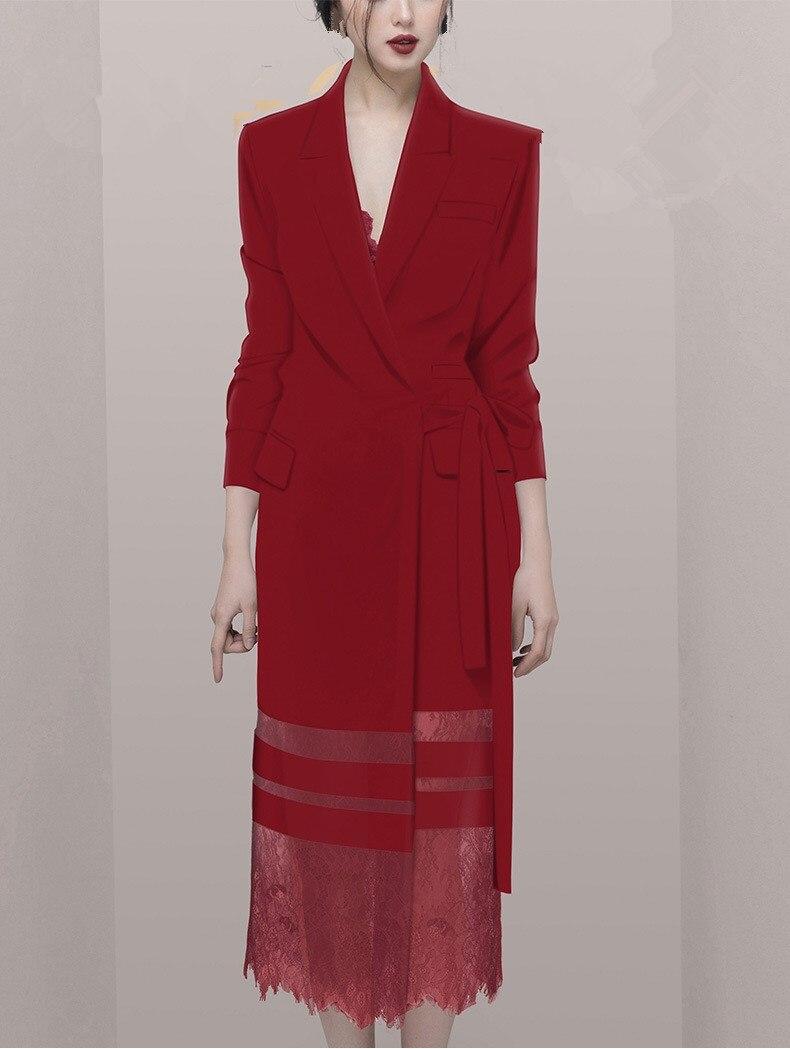De Costume Style Travail Printemps Long Survêtement Femmes Patchwork Mode Vestes À Lacets Dames Lacet Partie Bourgogne ATqxaqw