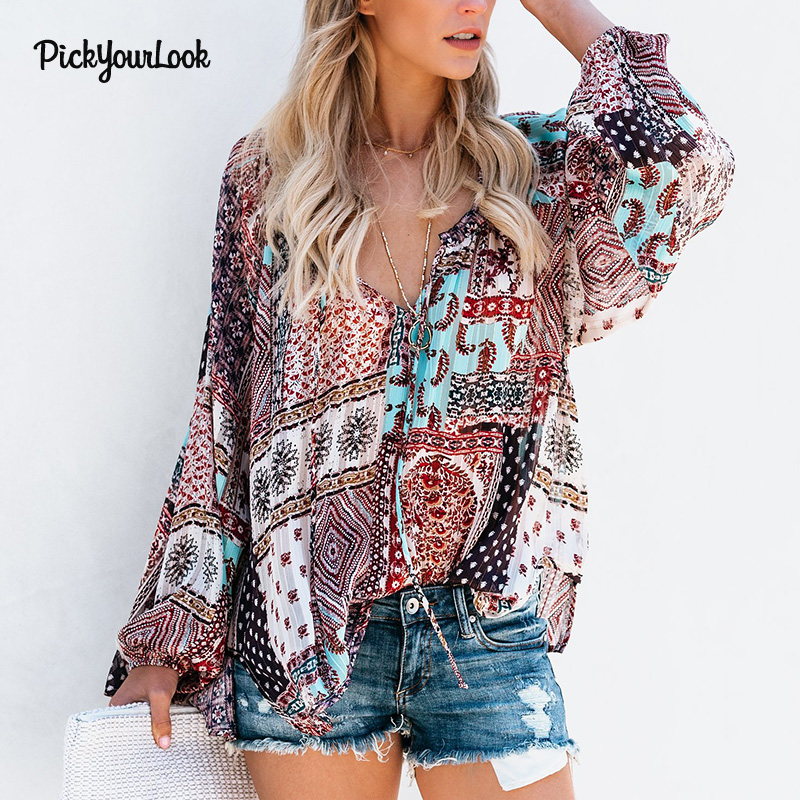 Pickyourlook Women Tops And Blouses Long Sleeve Bohemian Beach Loose Female Shirt Blouse Boho Fashion V Neck Lady Top Blusas D35