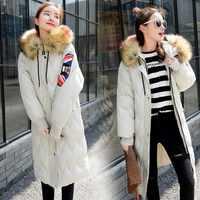Kış Ceket Artı Boyutu Kadın Kalın Pamuklu Giyim Moda Gelgit Sıcak Uzun Ceket Yastıklı Kar Giyim Rakun Kürk Yaka Parka PJ272