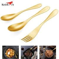 Keithart Titanium High Strength Tableware Fork Spoon Set Ultralight Outdoor Camping Picnic Fork Spoon Tableware Dinnerware Set