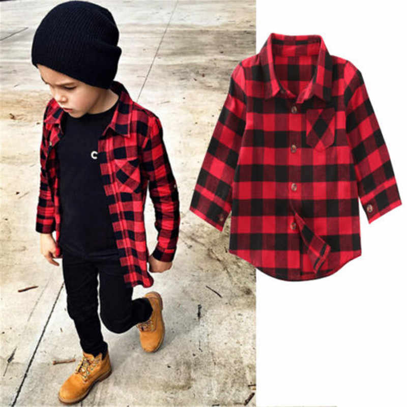Fashion Baby Kids Boys Girls Shirts Long Sleeve Red Plaids Checks Shirt Tops Trendy Kids Blouse Clothes 1-7Y