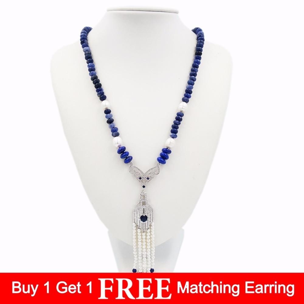 LiiJi Unique Blue Sodalite&Lapis lazuli&Freshwater Pearl&Cubic Zirconia Pendant Long Tassels Necklace 29''/72cm футболка dc artifunction sodalite blue