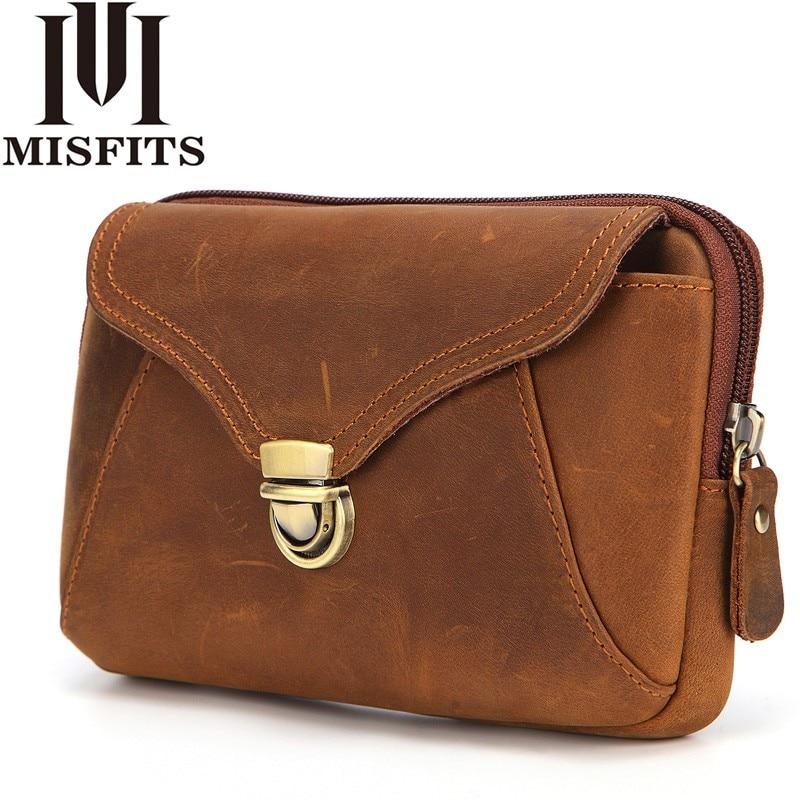 MISFITS Brand Genuine Leather Men Waist Pack High Quality Purse Waist Bag 6.5 inch Mobile Phone Bag Cigarette Pouch Belt Bags
