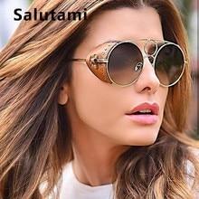 Pu Leather Frame Round Sunglasses For Women 2019 Luxury Bran