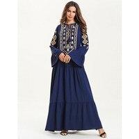 Vintage Women Muslim Dress Navy Blue Flare Sleeve Embroidery Dress Spring Loose Ethnic Patchwork Long Dresses