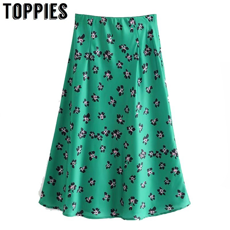 Summer Green Skirt Floral Printing High Skirts Women Knee Length A Line Overskirt Jupe Femme