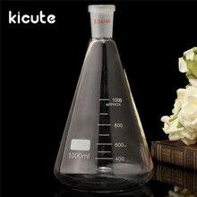 Высокое качество 24/40 1000 мл/1Л стеклянная колба Erlenmeyer коническая бутылка посуда для химической лаборатория