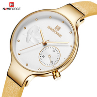 NAVIFORCE Women Fashion Quartz Watch Lady Leather Watchband High Quality Casual Waterproof Wristwatch Gift for Wife reloj mujer