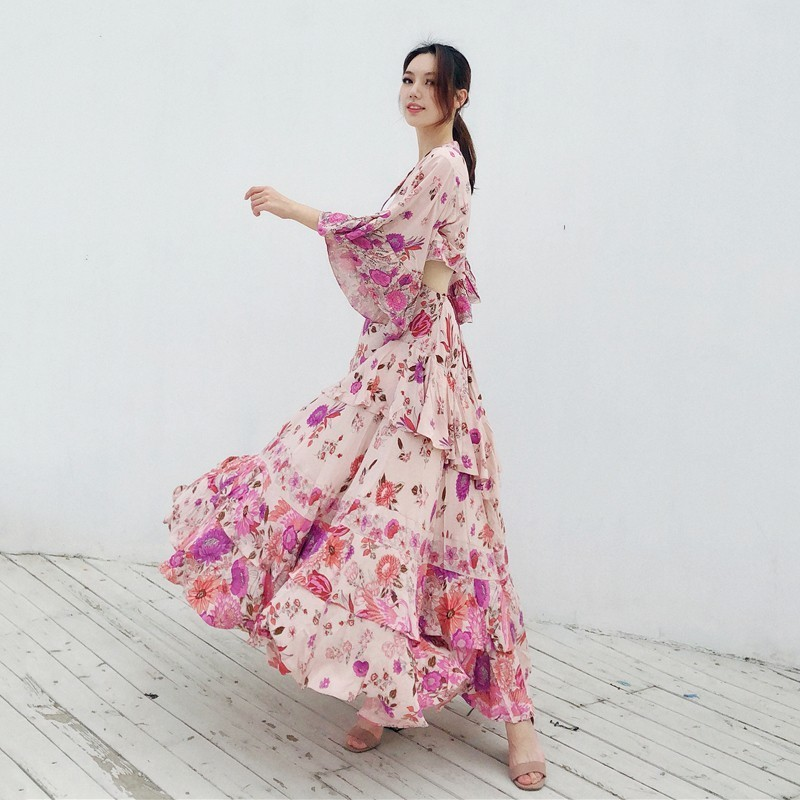 Robes Femmes Sexy Volants Longueur À Demi Twotwinstyle V Mode As Féminine Manches Printemps Robe Picture Casual Évider Cou Imprimer 2019 Cheville yIdKAKqt