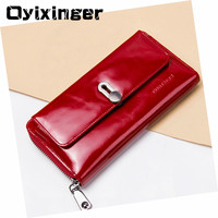 Oyixinger Genuine Leather Red Wallet Women Long Purse Female Black Wallets Credit Card Holder Organizer Walet Woman Clutch Bag