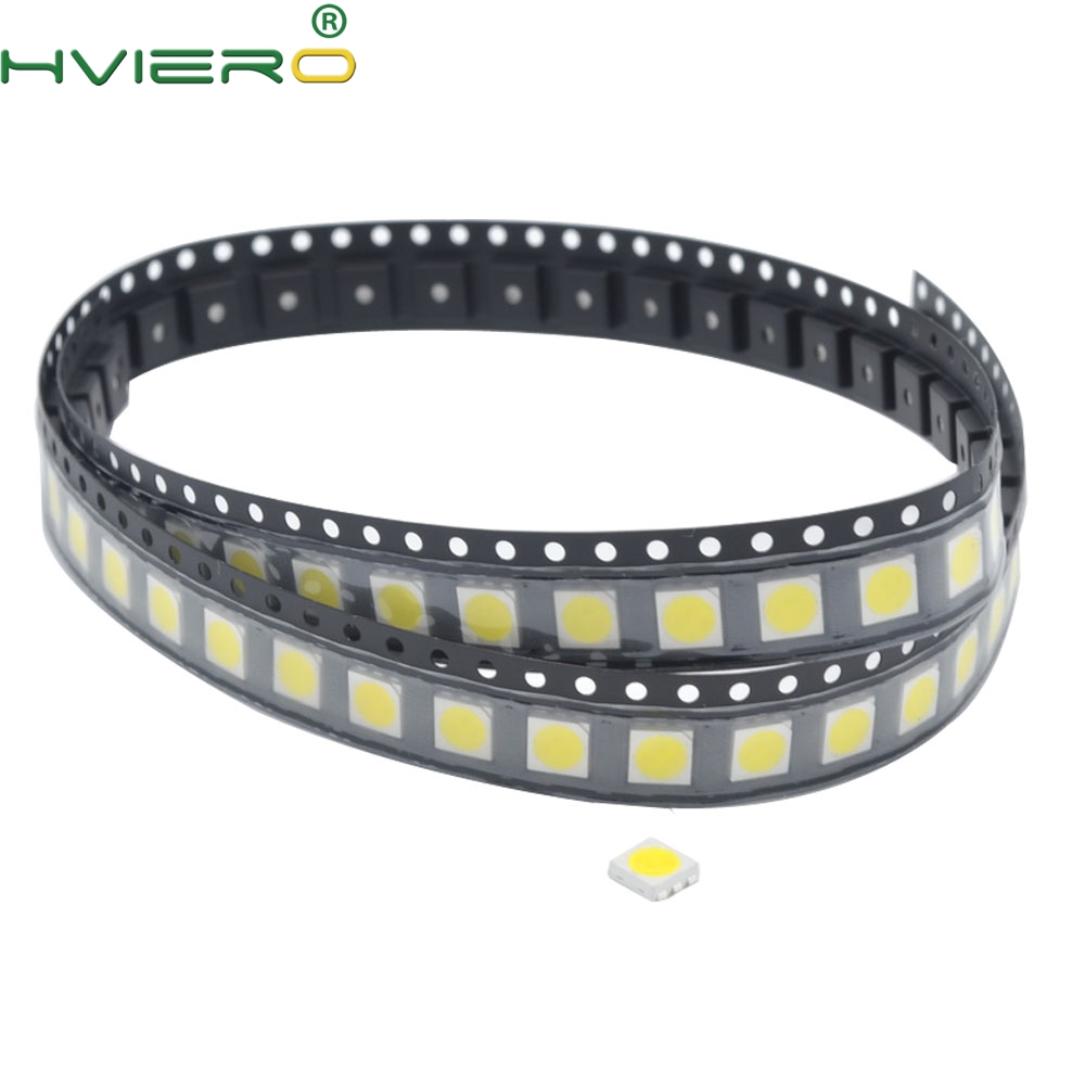 100pcs 5050 White Red Blue Pink Smd Smt 60mA 3V 3-chips 10-12lm 6000-6500k Led Plcc-6 Bright Lamp Bulb Light Emitting Diodes