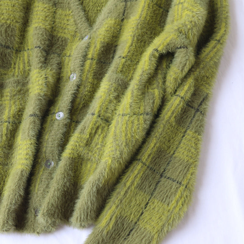 New Vintage Plaid Green Plush Knitted Cardigan V-neck Loose Sweater Trend Autumn Winter 2019 Winter Clothes Sweater Women