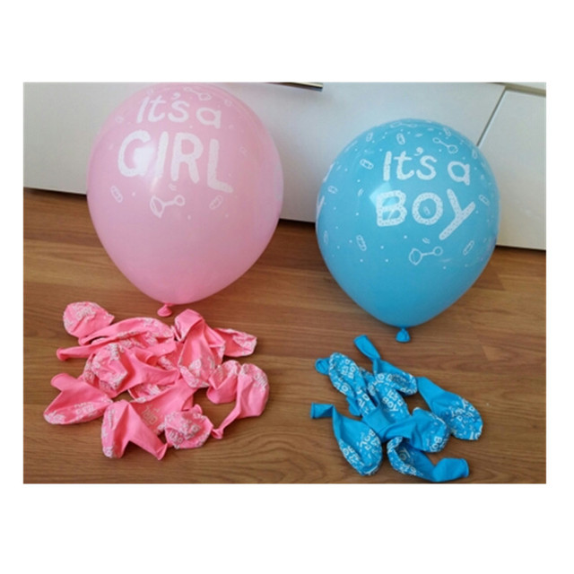 10Pcs It Is A Boy and It's A Girl Baby Boy Latex Balloons for Wedding Birthday Baby Shower Party Decoration Blue Pink Colors
