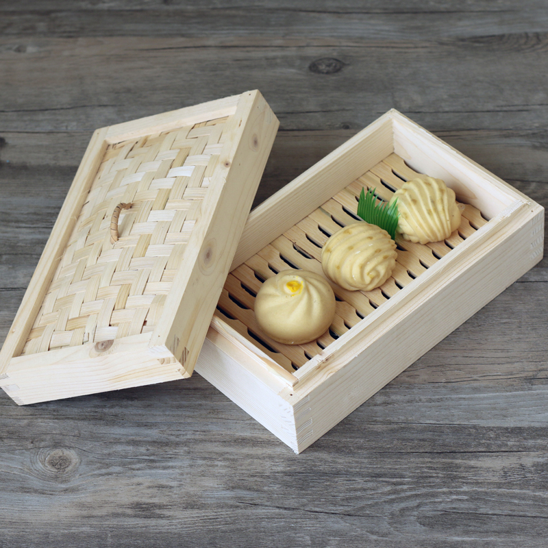Specially Made Rectangular Chinese Fir Steamer Wooden Drawer Small Steamed Stuffed Buns Steamed Box Square Thick Square Cage