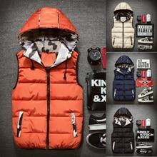 купить Winter Vest Top Men Waistcoat Sleeveless Warm Jacket Vest New Fashion Bodywarmer Fortress Warm Hot Sale Casual Solid Coat дешево