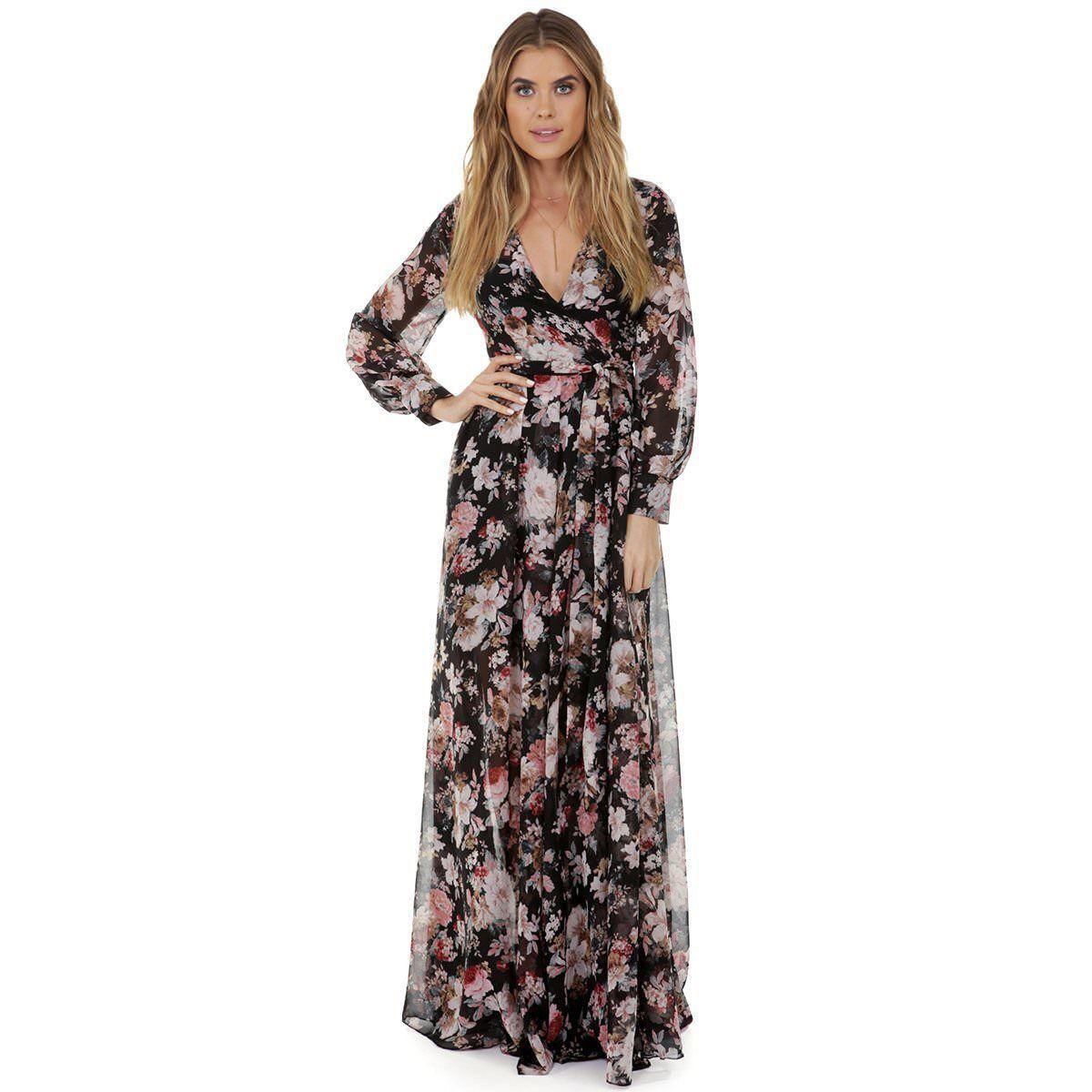 Women BOHO Floral Print Beach Dress Lady Evening Party Short Sleeve Maxi Dress Women Summer Dress Ladies Polyester Full Dresses