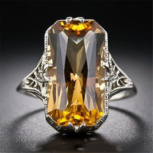Yellow Crystal Hollow-out Carved Amethyst Ring for Women Jewelry Jade Bague or Jaune Anillos De Diamond Bizuteria Rings Dropshop цена 2017