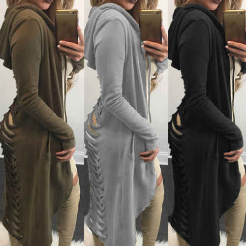Gothic Womens Hoodies Ladies Cut Out Long Sleeve Long Ripped Back Hooded Hoodie Women Coat Sweateshirts