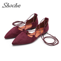 Shoche Ballet Style Low Heel Pumps Lace Up Shoes Ladies Sweet Casual Low Heels Women Red Black Flock Shoes Big Size