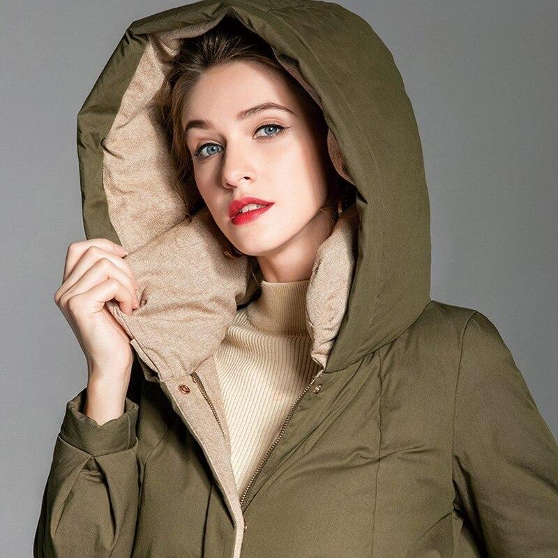 Chaud 90 Outwear Rembourré Canard Casual Plume Veste Longue Blanc Vert De Roulé Mode Parka Capuche Armée Col À D'hiver Armygreen Femmes 218 X8x0xv