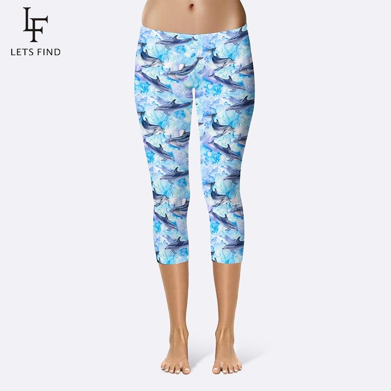 Summer New Arrival Cartoon Dolphins Print Women Leggings Mid-Calf High Quality Milk Silk Plus Size Fitness Leggings Capri Pants