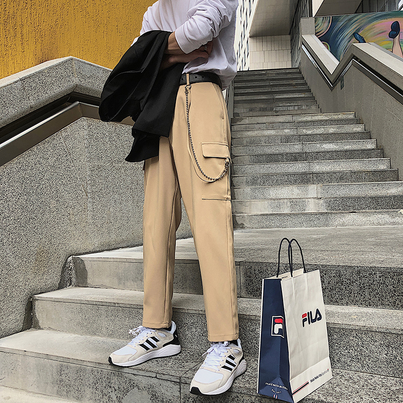 2019 Spring And Summer New Fashion Trend Korean Version Of The Loose Couple Cotton Date Solid Color Dress Trousers