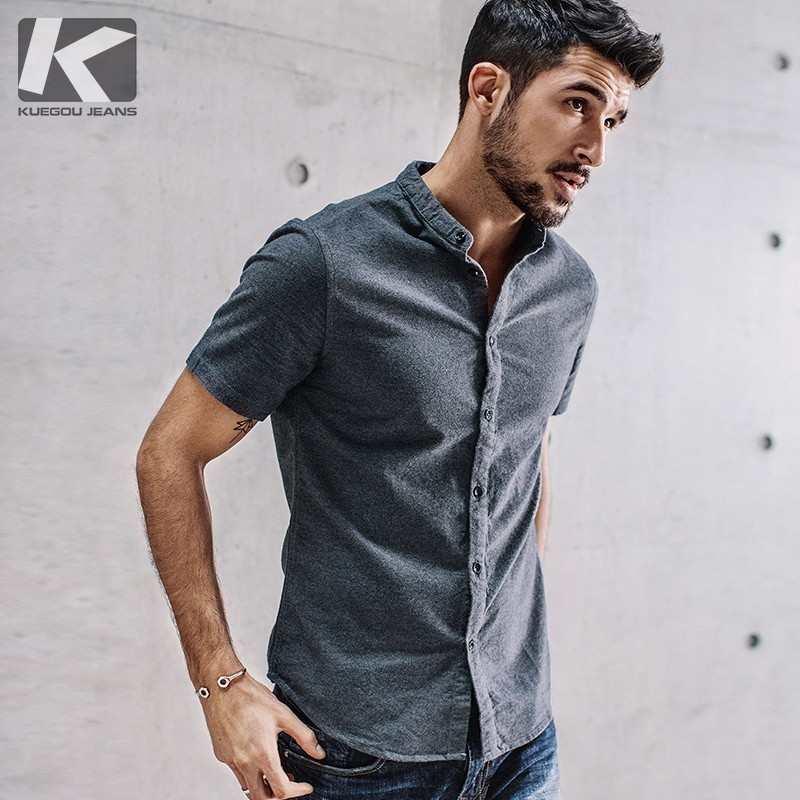 KUEGOU 2019 летняя Однотонная рубашка из 100% хлопка, мужская повседневная приталенная рубашка с коротким рукавом для мужчин, брендовая блуза разм...