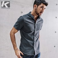 Summer Mens Casual Shirts 100% Cotton Gray Color For Man's Slim Fit Short Sleeve Clothes Male Wear Plus Size Brand Clothing 5859