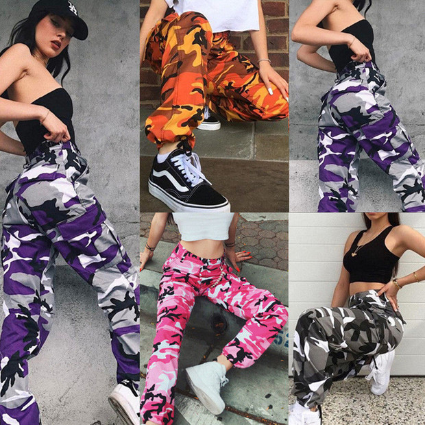 Pantalon Femme Loose Sexy Pants Women Camouflage Punk Trousers Pink Camo Orange Purple Pink Sweatpants Hiphop Dance Baggy Pants