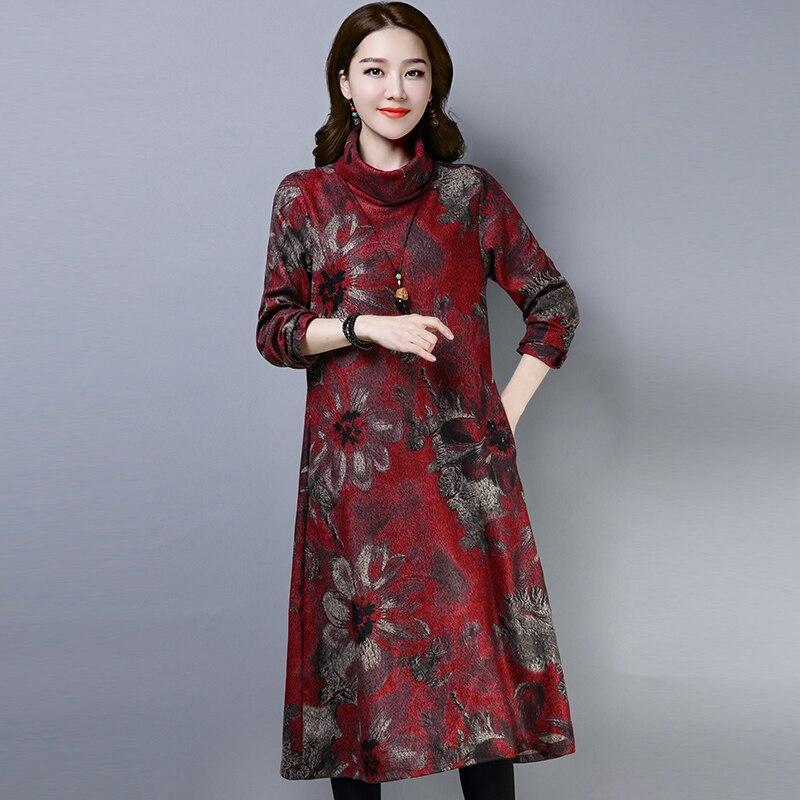 2019 New Women Spring Autumn Dresses Turtleneck Printed Female Long Sleeve Vintage Robe Dress Vestido 54