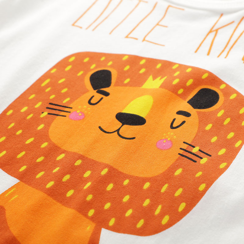 2019 new Kids clothes cotton Tops baby boy children clothing short sleeved T shirt cartoon lion print boy round neck animal Tees in T Shirts from Mother Kids