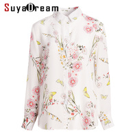 Women Blouse 100% REAL SILK Crepe Printed Long Sleeved Blouses for Women 2019 Spring Summer White Office lady shirt