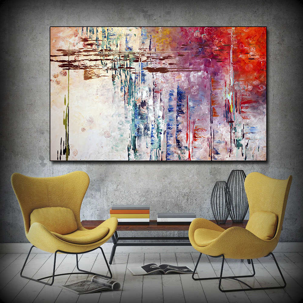 AAVV Abstract Painting Colorful Canvas Poster and Prints Wall Pictures for Living Room Office Bedroom Modern Canvas Oil Painting
