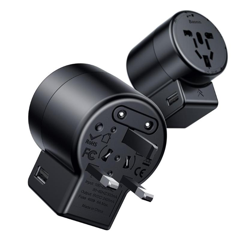 Baseus Universal Travel <font><b>Plug</b></font> <font><b>Adapter</b></font> USB Hub Ladegerät Lade Power Converter + Rotation Typ Sockel <font><b>Pin</b></font> EU US UK AU stecker image