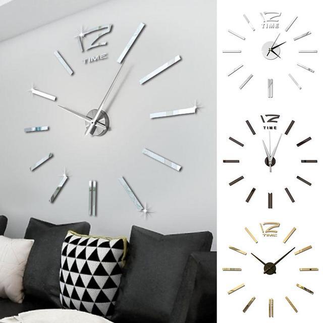 Античные Мини DIY зеркальные поверхности часы-наклейка немой настенные часы 3D настенные часы гостиная домашний офис Рождественский подарок-украшение