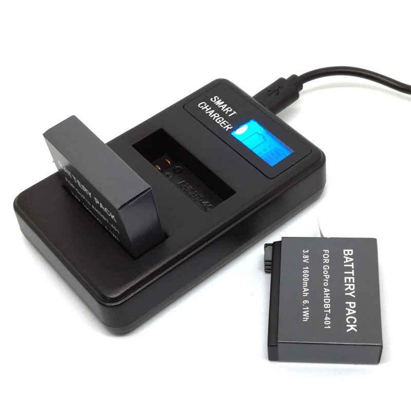 Для Ahdbt-401 Go-Pro Hero4 Батарея Usb ЖК Дисплей двойной Порты и разъёмы Зарядное устройство для спортивной экшн-камеры Go-Pro Hero 4 4 + Камера аксессуары