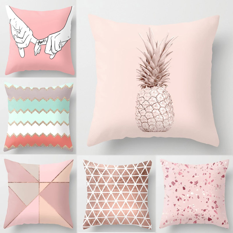 Pink Nordic Sofa Geometric PillowCover Popular Decorative CushionCover 1PC Hot Sale Tropic Pineapple Cushion Case High Quality