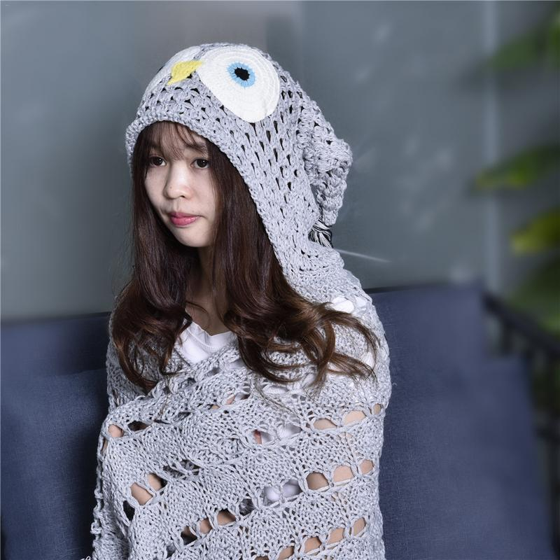 Crocheted Hooded Owl Blanket Animal Owl Style Poncho Novelty Boys