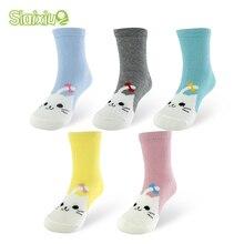 5 пар/партия хлопковые носки для маленьких мальчиков и девочек детские осенне-зимние носки в полоску и с рисунками кошек для детей 1-10 лет