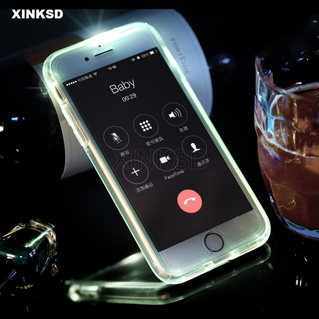 Call LED Light Up Case For iPhone X XR XS MAX SE 5 S 5S Flash Soft Silicone  Back Cover Case For iPhone 7 8 6 S 6S Plus Cases f5d6bbd75296