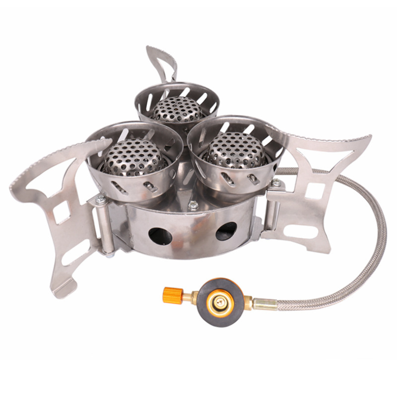 11000W High-power Camping Stove Fierce Fire Windbreak Three Core Head Camp Furnace For Outdoors Family Picnic Cooking