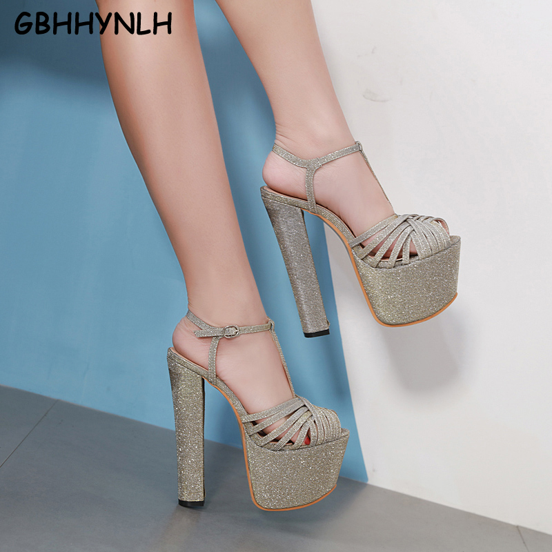GBHHYNLH New Summer Gladiator Sandals Fashion Sexy Women Pumps Open Toe High Heels Woman Sandals Thick