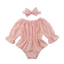 Однотонная кружевная одежда боди с длинными рукавами для новорожденных и маленьких девочек+ повязка на голову, комплект из 2 предметов Размер от 0 до 24 месяцев