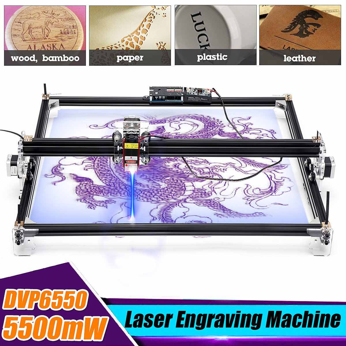 65*55cm Mini 5500MW Blue CNC Laser Engraving Machine 2Axis DC 12V DIY Home Engraver Desktop Wood Router/Cutter/Printer Machine